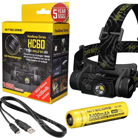 Nitecore HC60 1000 Lumens LED USB rechargeable Headlamp w/18650 3400mAh battery