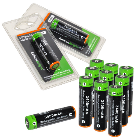 12 Pack EdisonBright EBR34 3400mAh 18650 rechargeable Li-ion protected batteries