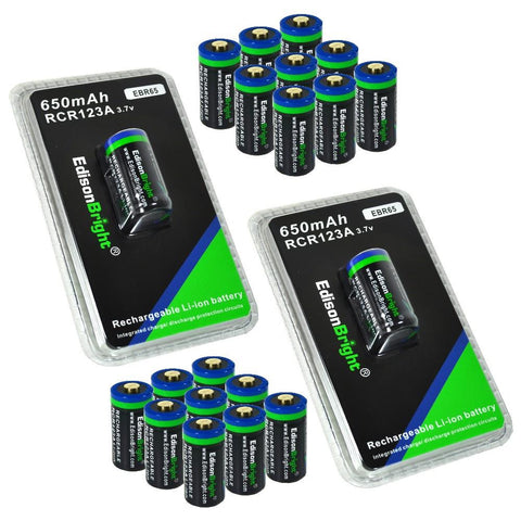20 Pack Genuine EdisonBright 16340 RCR123A 650mAh rechargeable Li-ion batteries