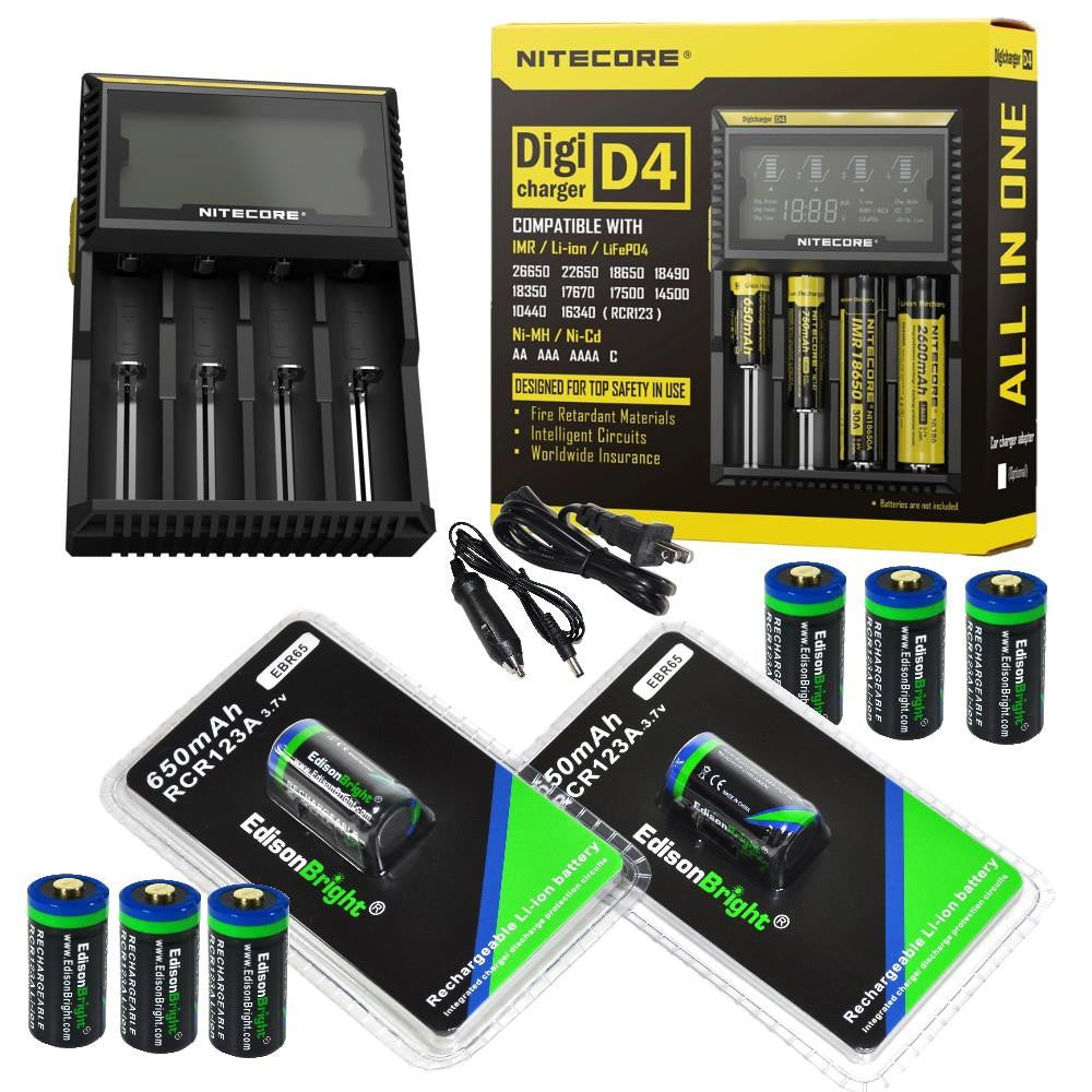 8 Pack EdisonBright EBR65 type 16340 RCR123A 3.7v rechargeable protected li-ion 650mAh batteries with Nitecore D4 smart digital battery charger