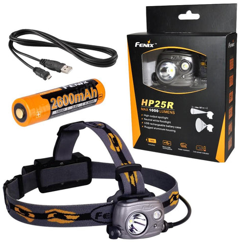 Fenix HP25R 1000 Lumen USB rechargeable CREE XM-L2 U2 LED Headlamp, Fenix 18650 rechargeable Li-ion battery