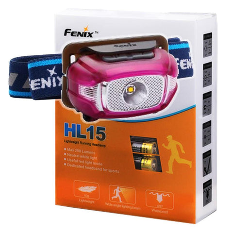 Fenix HL15 200 Lumen CREE LED light weight jogging Headlamp (puple color body)