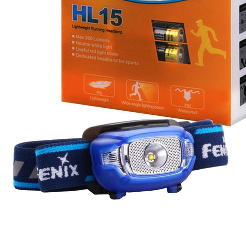 Fenix HL15 200 Lumen light weight CREE LED running Headlamp (Blue color body)