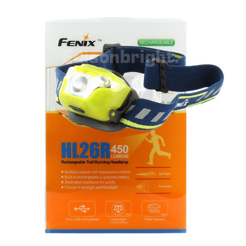 New Fenix HL26R 450 Lumens CREE LED rechargeable runners headlamp with On-Board battery Pack