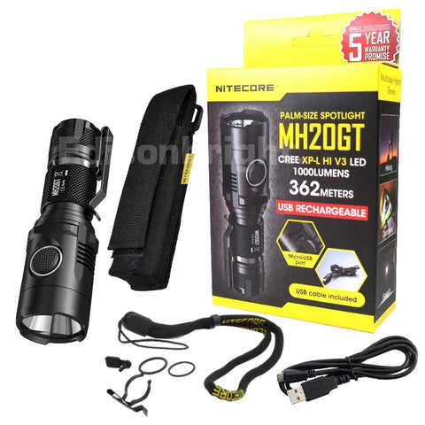 Nitecore Multitask Hybrid MH20GT USB Rechargeable Palm-Sized Spotlight  CREE XP-L HI V3 LED 1000 Lumens  Uses 1 x 18650 or 2 x CR123As batteries