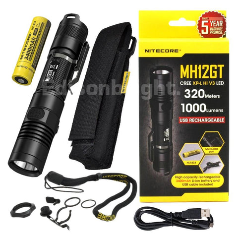New Nitecore MH12GT 1000 Lumens CREE LED USB rechargeable Flashlight with 3400mAh 18650 battery included.