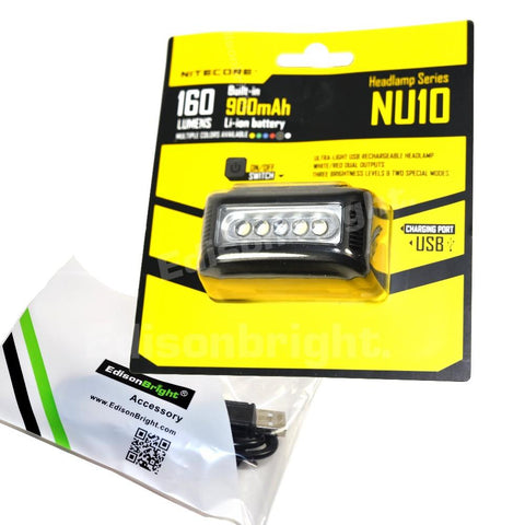 New Nitecore NU10 160 Lumens CREE LED USB rechargeable Work Headlamp w/USB cable included
