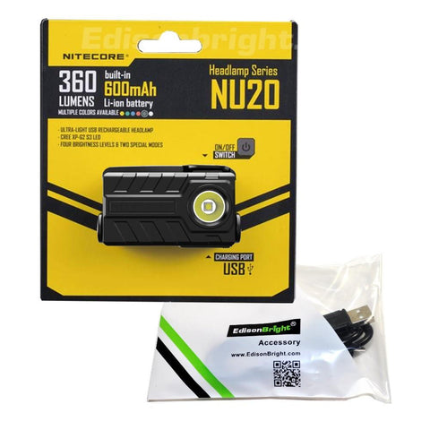 New Nitecore NU20 360 Lumens CREE LED USB rechargeable runners Headlamp with USB cable included.