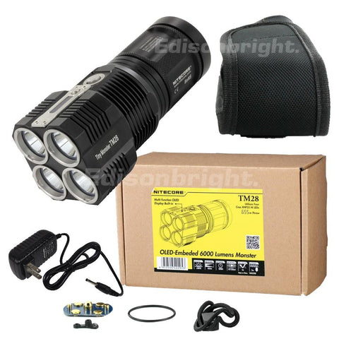 Nitecore Tiny Monster TM28 6000 Lumens 4 x CREE XHP35 HI LED Flashlight powered by Li-ion 4 x 18650s or IMR18650's