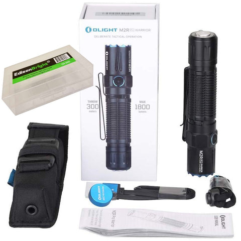 OLIGHT M2R Pro Warrior 1800 Lumens USB Magnetic Rechargeable Tactical Flashlight, 21700 Battery, holster with EdisonBright BBX5 battery carry case bundle