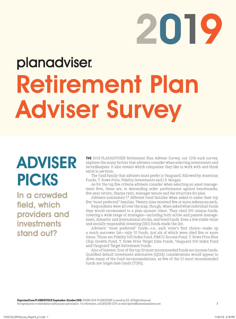 2019 PLANADVISER Retirement Plan Adviser Survey