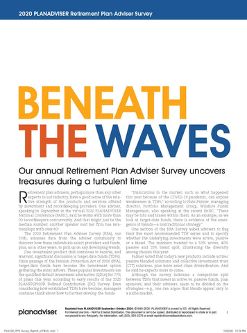 2020 PLANADVISER Retirement Plan Adviser Survey