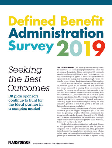 2019 Defined Benefit Administration Survey