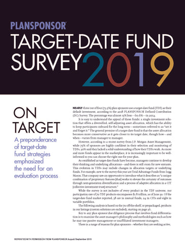 2019 PLANSPONSOR Target-Date Fund Survey