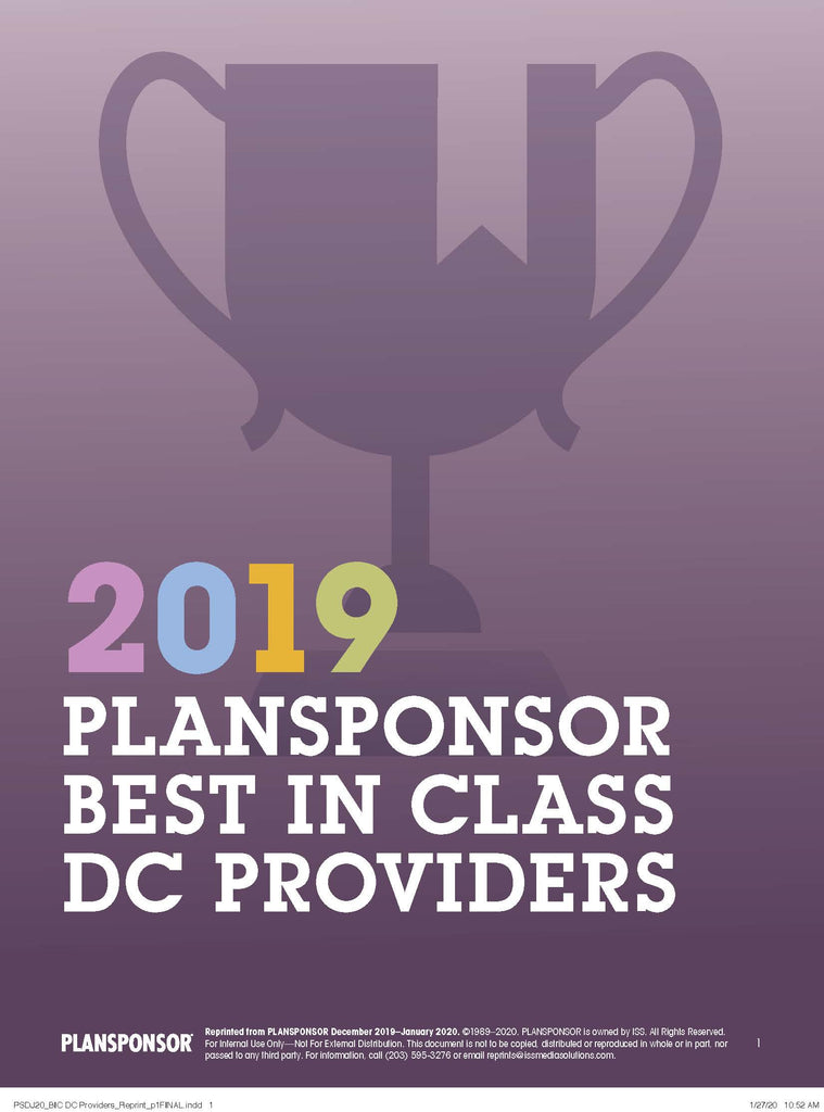 2019 PLANSPONSOR Best in Class DC Providers Survey