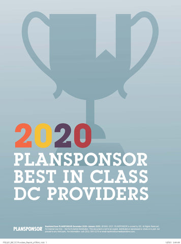 2020 PLANSPONSOR Best in Class DC Providers Survey