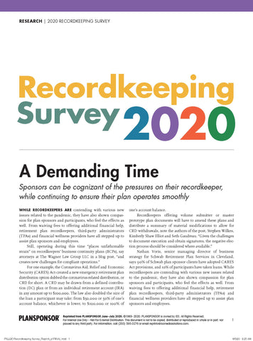2020 Recordkeeping Survey