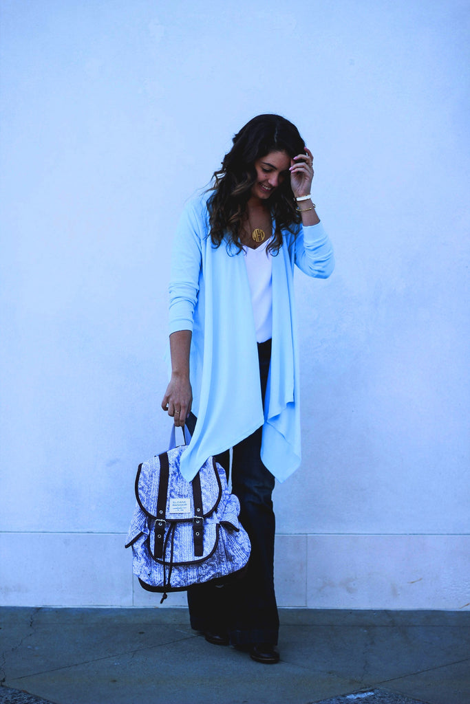 light blue waterfall cardigan