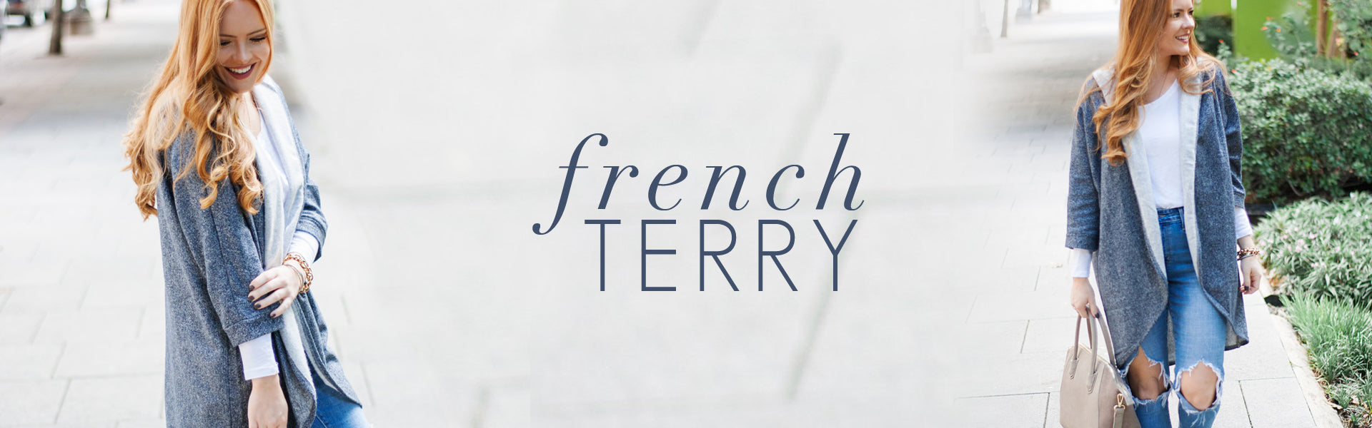 Casually Cozy - Fleeced French Terry Dresses and Kimono