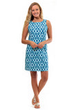 All For Color-Aqua Trellis West Ave Shift Dress - FINAL SALE-Dresses