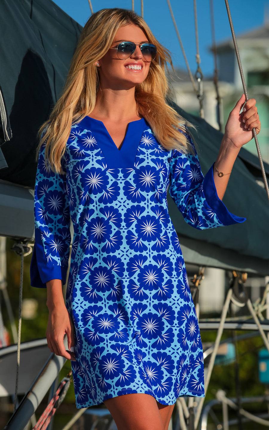 All For Color-Blue Lagoon Prescot Lane Tunic Dress - FINAL SALE-Dresses