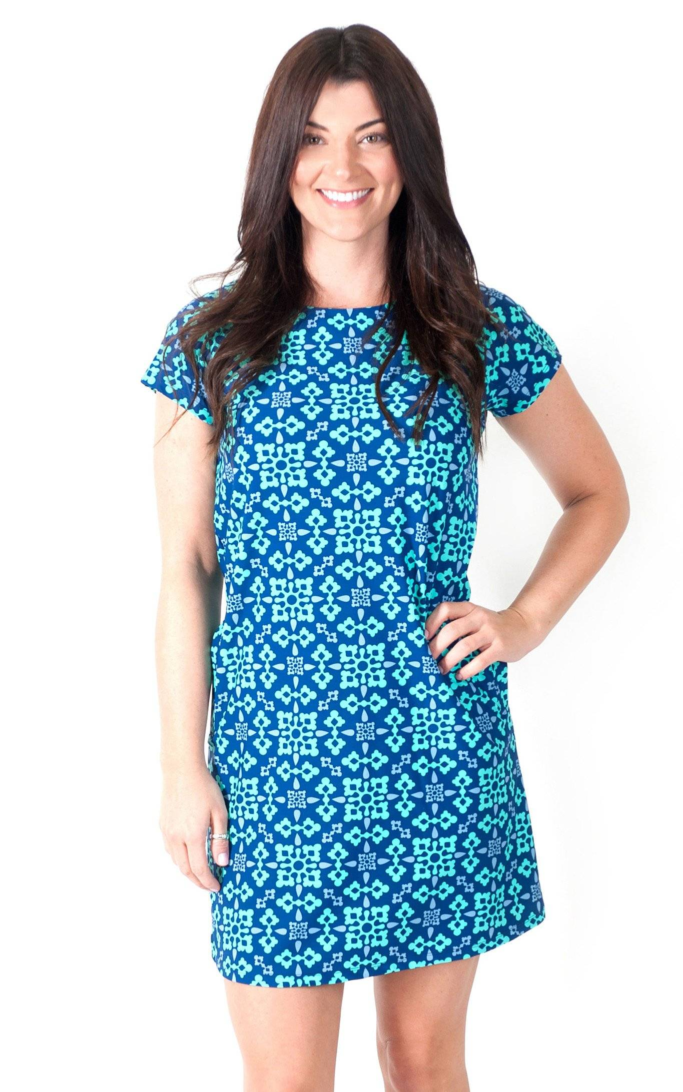 Autumn Sky Harbor Place Cap Sleeve Dress