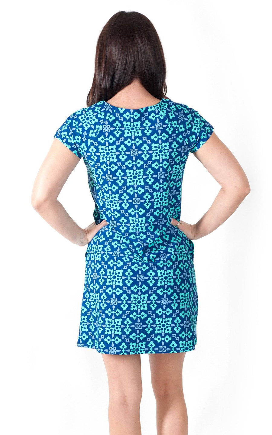 All For Color-Autumn Sky Harbor Place Cap Sleeve Dress - FINAL SALE-Dresses