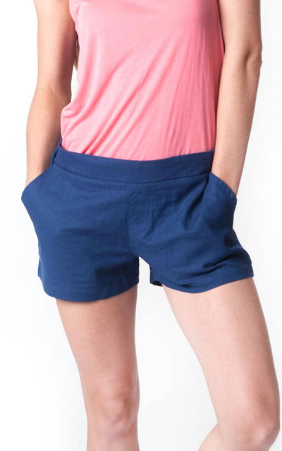 All For Color-Navy Linen Short - FINAL SALE-Bottoms