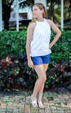 All For Color-Navy Linen Short-Bottoms