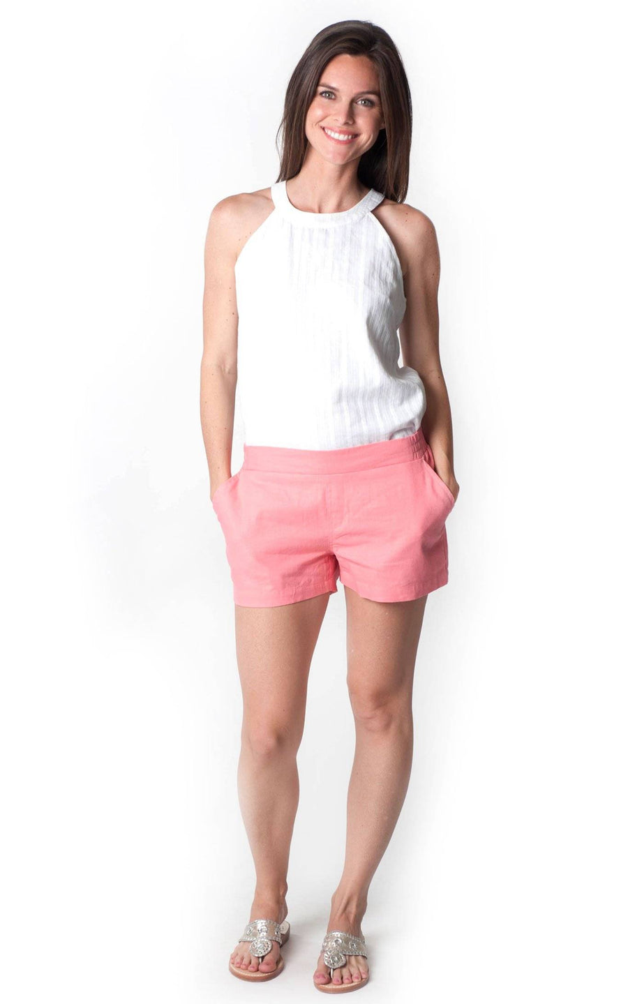 All For Color-Coral Linen Short - FINAL SALE-Bottoms