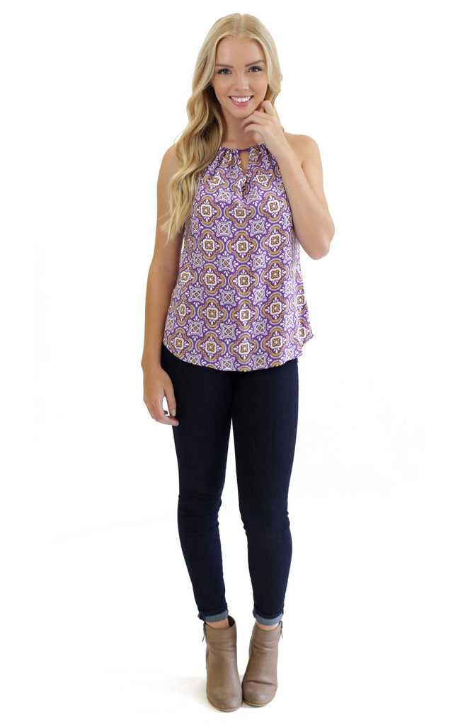 Purple Gold Tile Amelia Bow Neck Tank