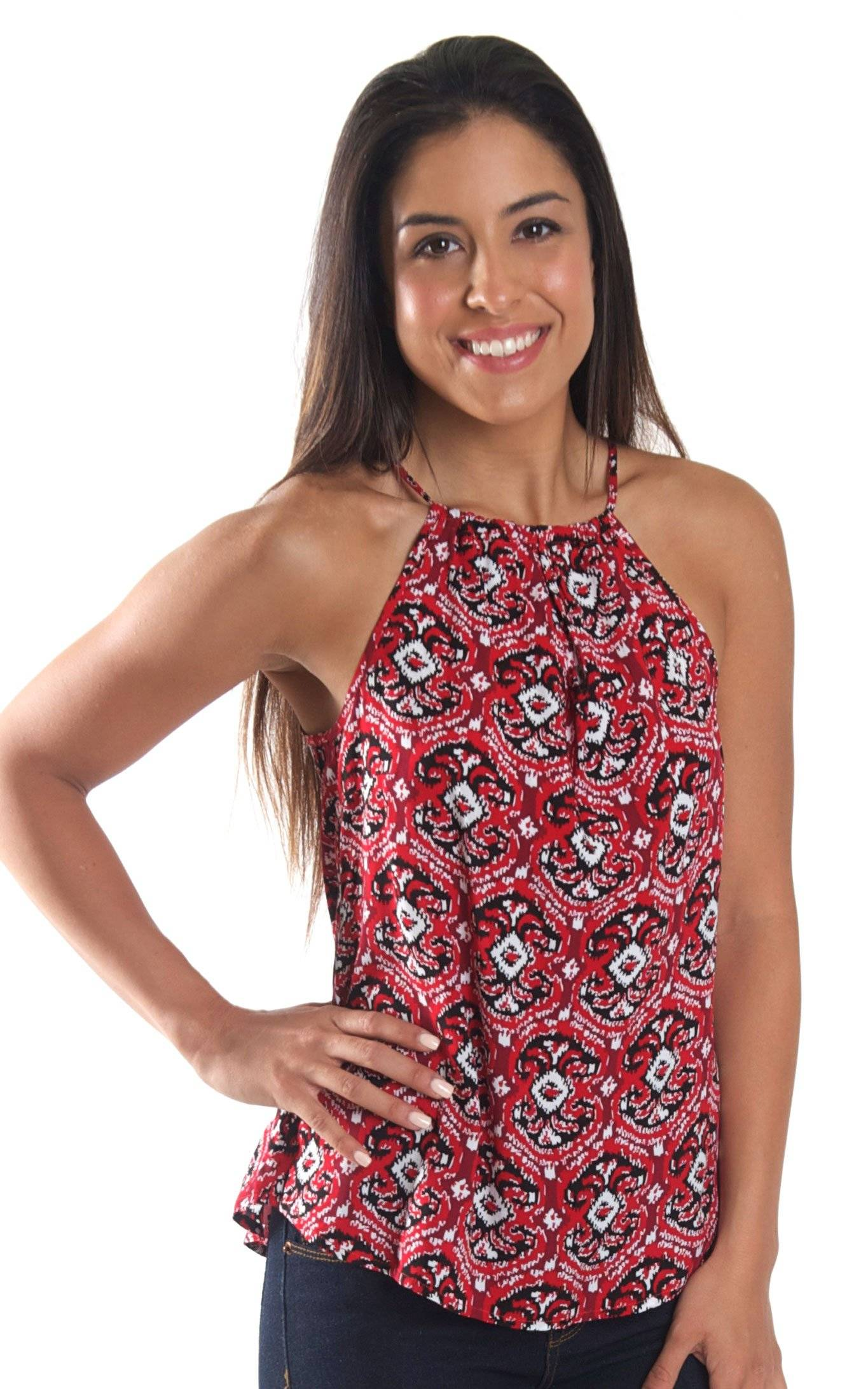 Red Ikat Amelia Bow Neck Tank