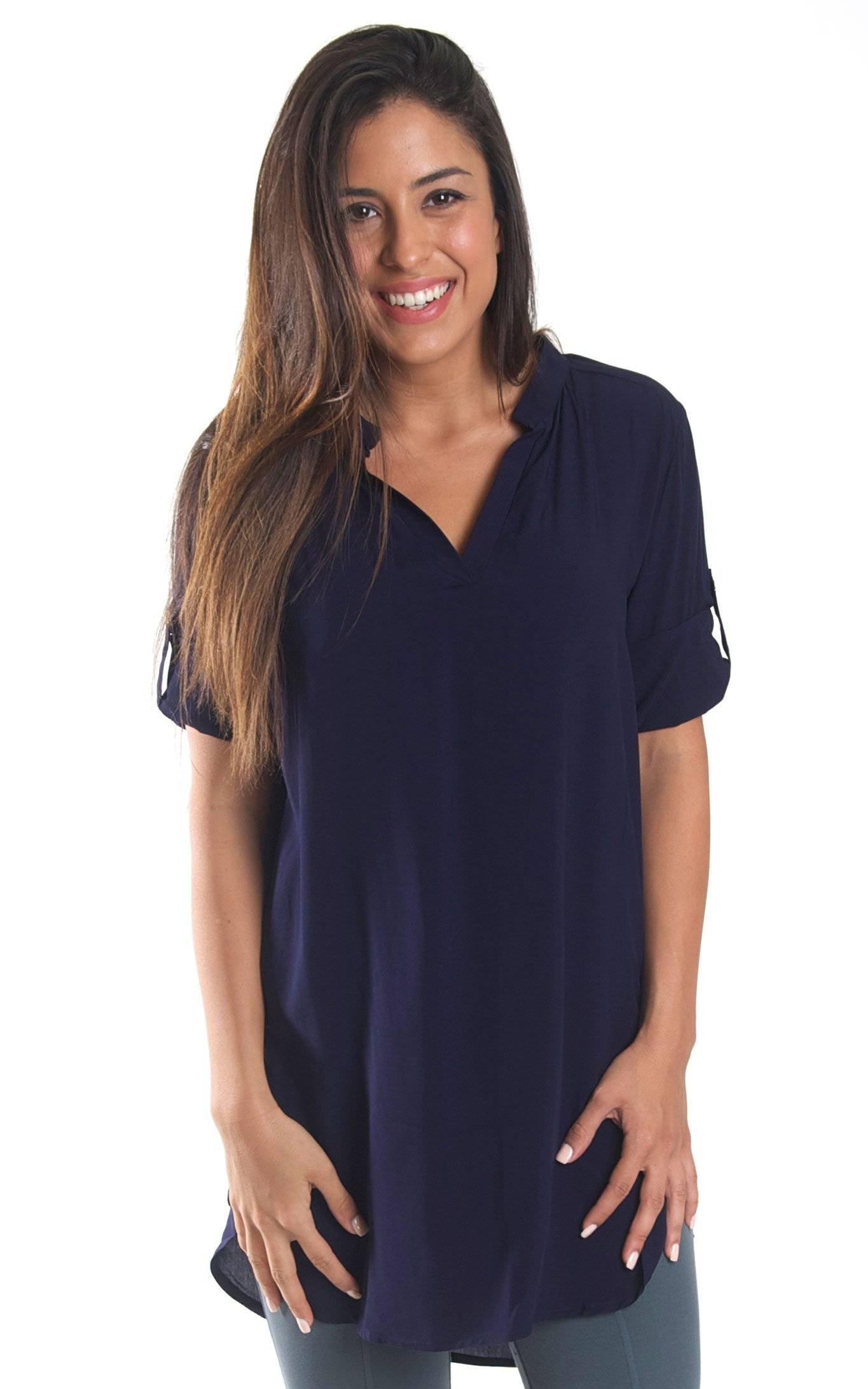 Navy Avery High Low Tunic