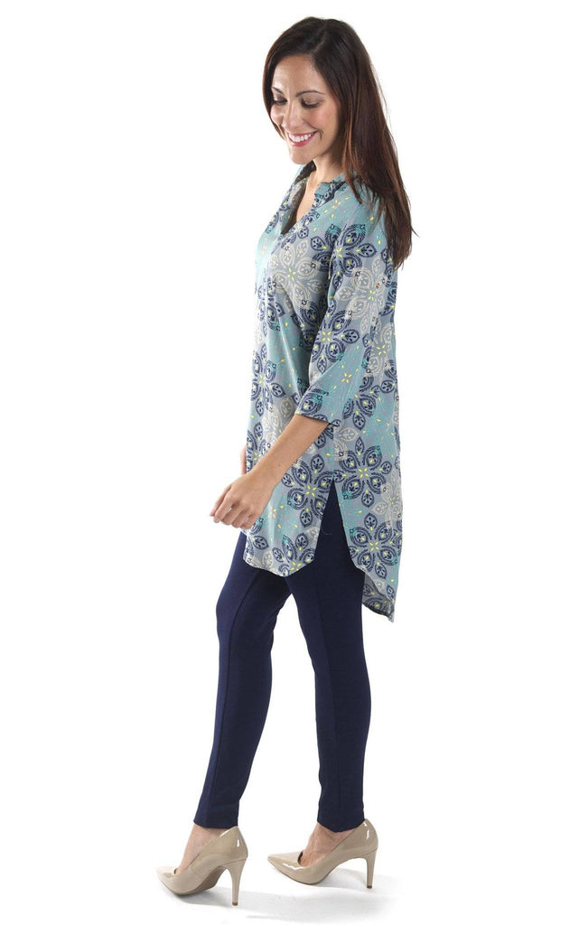 All For Color-Silver Mist Avery High Low Tunic-Tops