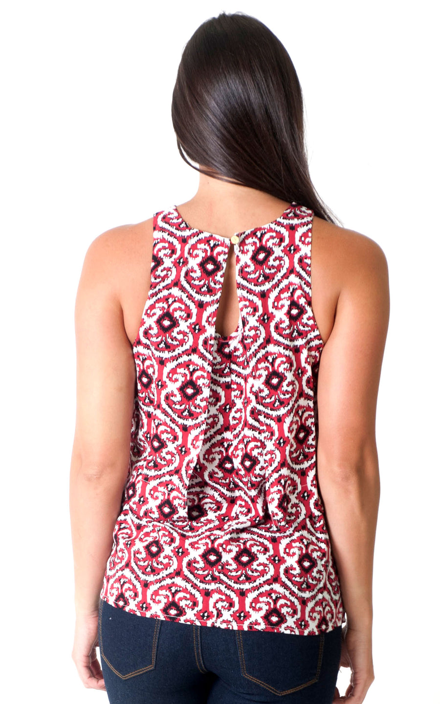 Garnet Black Ikat Mia Layered Tank - FINAL SALE