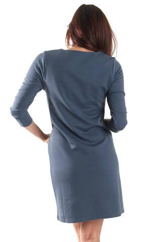 All For Color-Grey Kate Pocket Shift Dress-Dresses