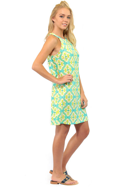 All For Color-Lime A Rita Seaview Court High Neck Shift Dress - FINAL SALE-Dresses