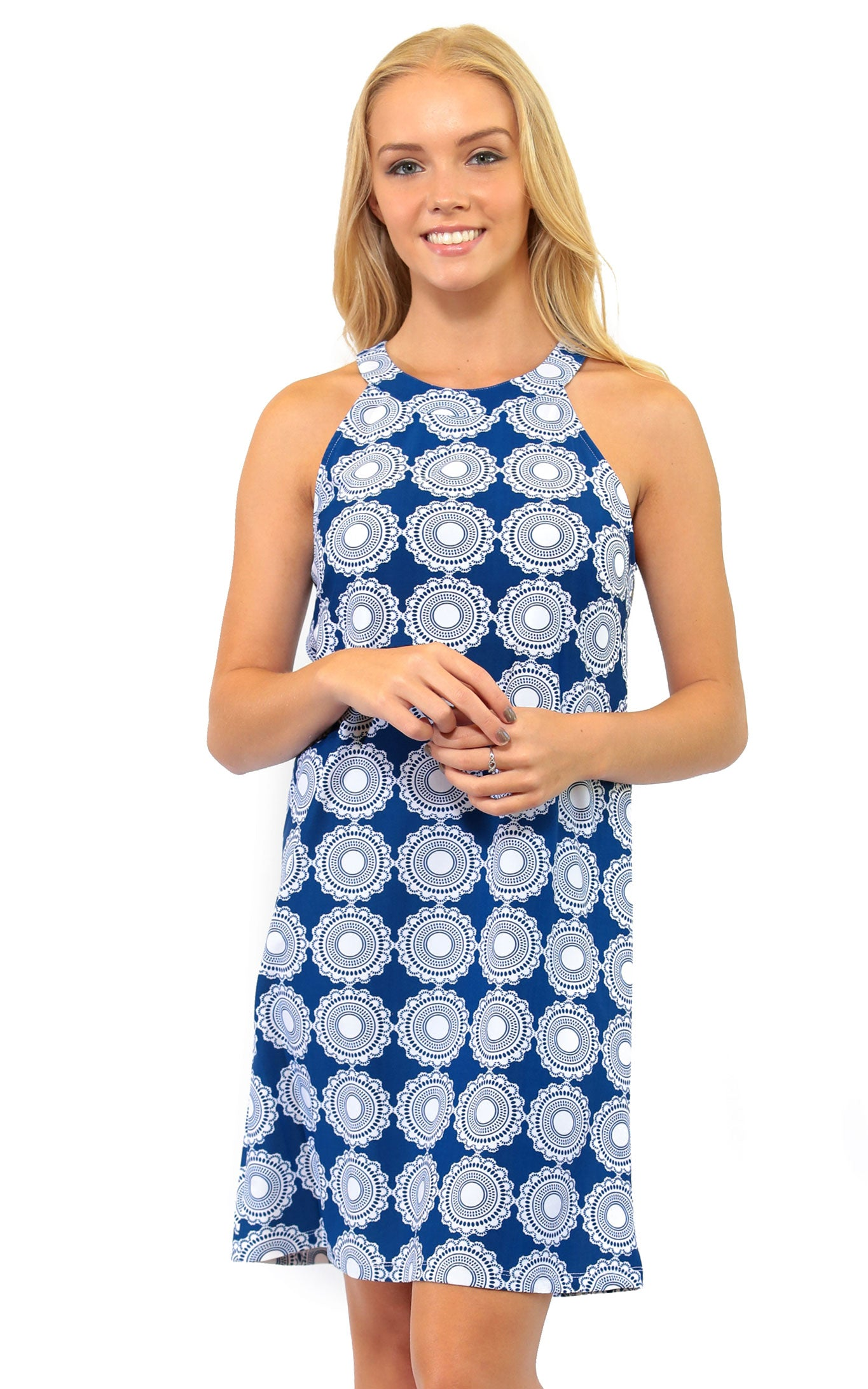 Sand Dollar Seaview Court High Neck Shift Dress