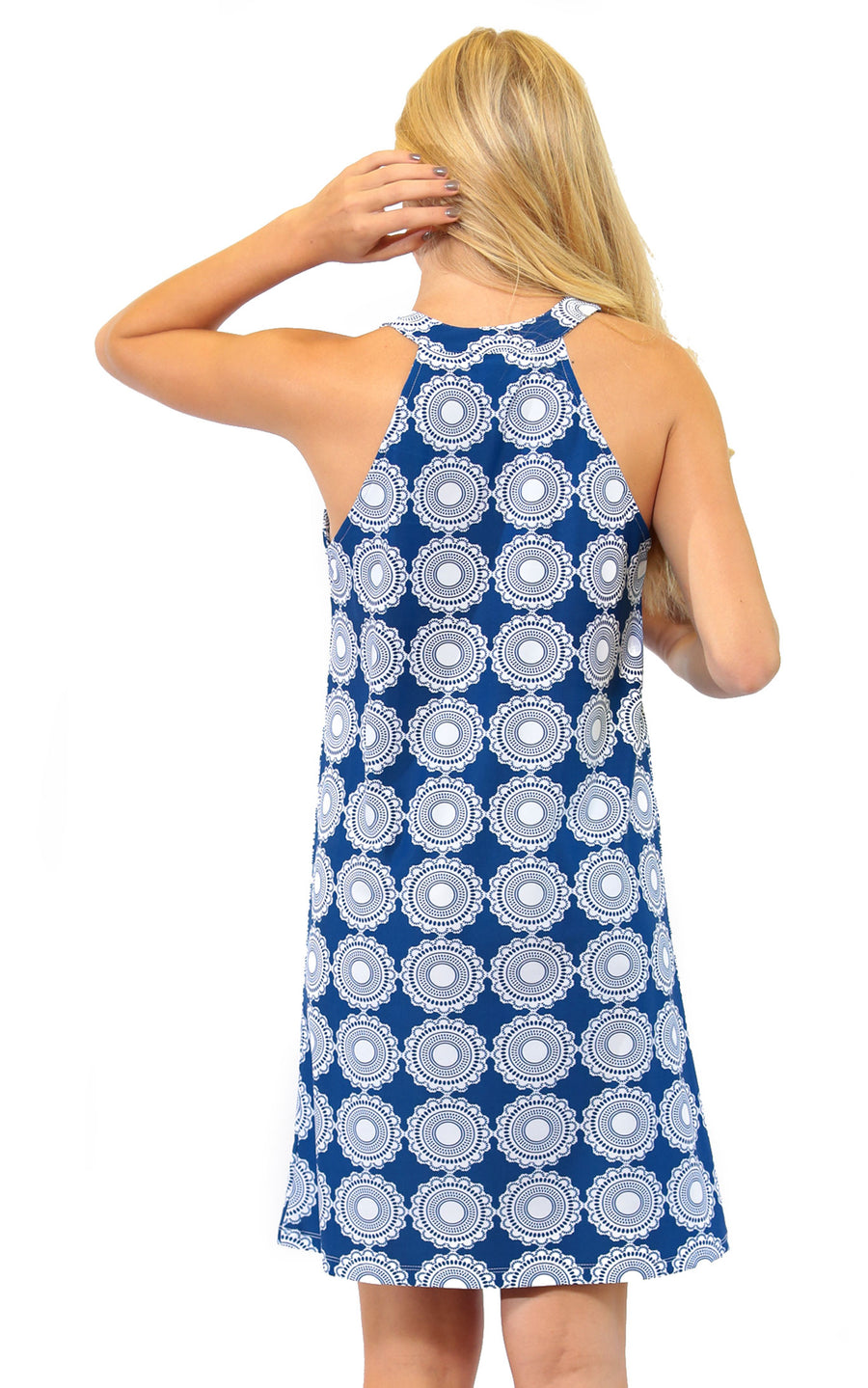 All For Color-Sand Dollar Seaview Court High Neck Shift Dress - FINAL SALE-Dresses
