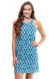 All For Color-Aqua Trellis Seaview Court High Neck Shift Dress - FINAL SALE-Dresses