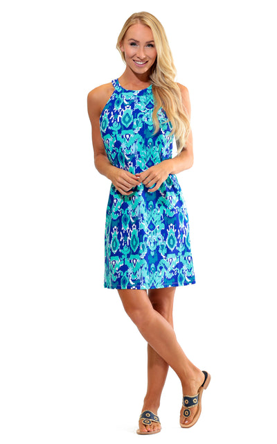 All For Color-Bahama Blue Seaview Court High Neck Shift Dress - FINAL SALE-Dresses