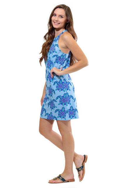 All For Color-Mandala Turtle Seaview Court High Neck Shift Dress-Dresses