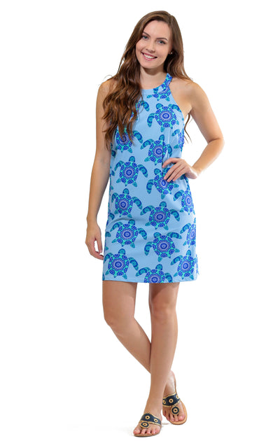 All For Color-Mandala Turtle Seaview Court High Neck Shift Dress - FINAL SALE-Dresses