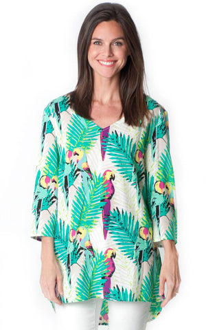 All For Color-Birds of Paradise Lexie Criss Cross Tunic-Tops
