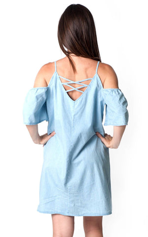 All For Color-Chambray Paloma Criss Cross Dress-Dresses