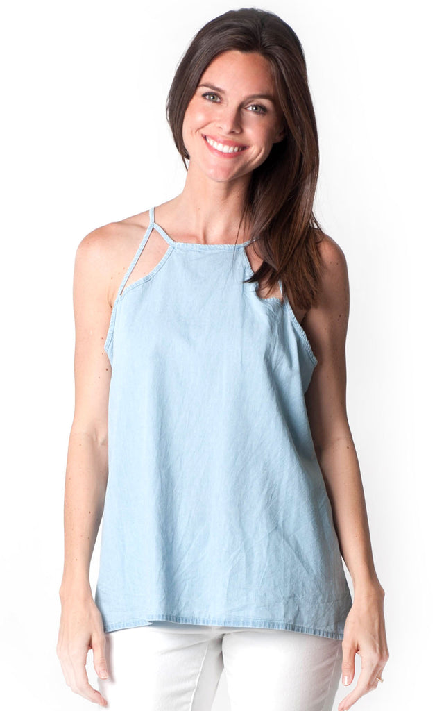 All For Color-Chambray Selena Cut Out Tank-Tops