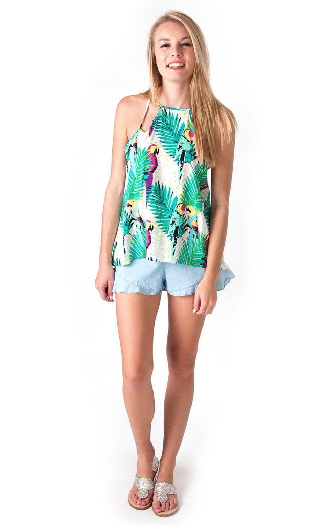 All For Color-Birds of Paradise Selena Cut Out Tank-Tops