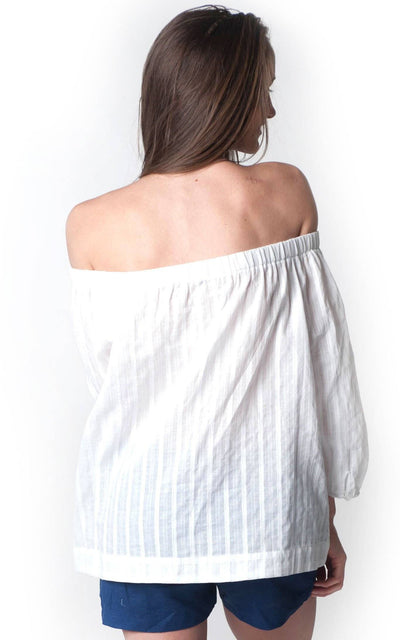 All For Color-White Cotton Belle Off The Shoulder Blouse - FINAL SALE-Tops