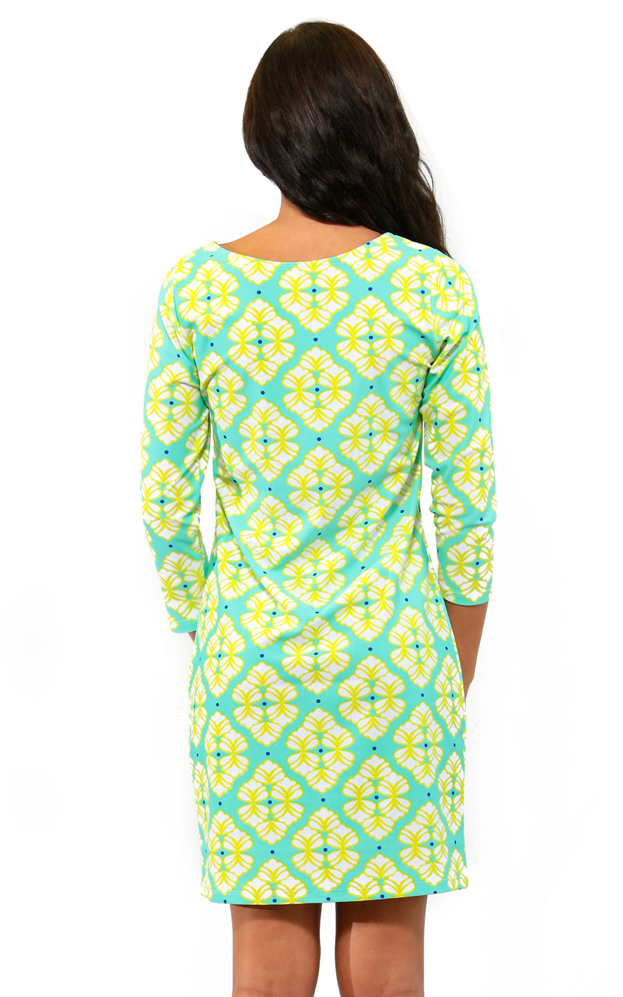 All For Color-Lime A Rita Lakeside Drive Crew Neck Shift - FINAL SALE-Dresses