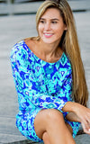All For Color-Bahama Blue Lakeside Drive Crew Neck Shift - FINAL SALE-Dresses